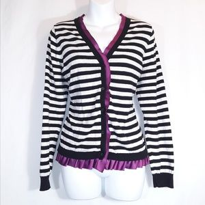 Elle Sweaters - Elle XL Purple Black & White Stripe Cardigan